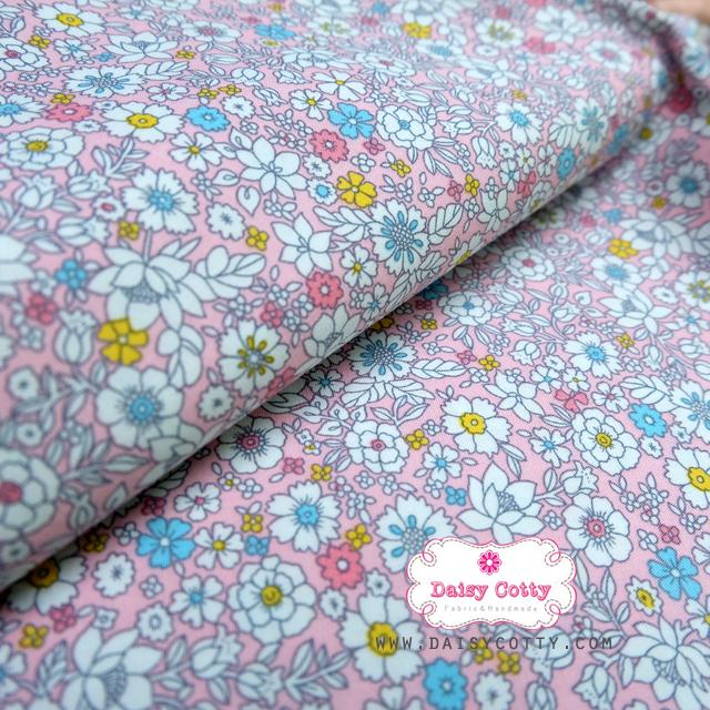 ผ้าคอตตอนไทย 100% 1/4ม.(50x55ซม.) Blooming Flower โทนสีชมพู