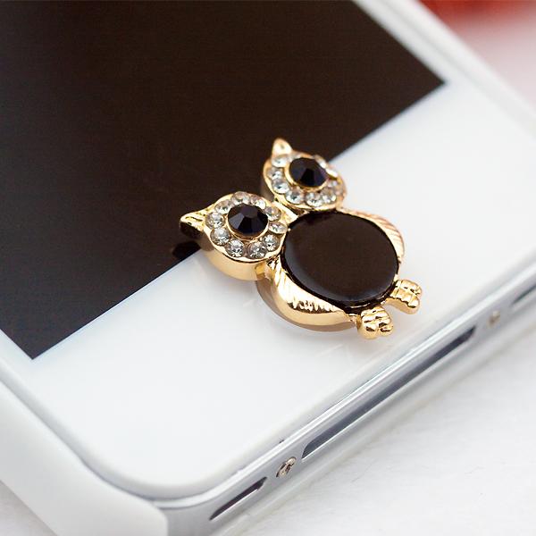 ปุ่มโฮมไอโฟนเพชร รูปนกฮูกสีดำ
