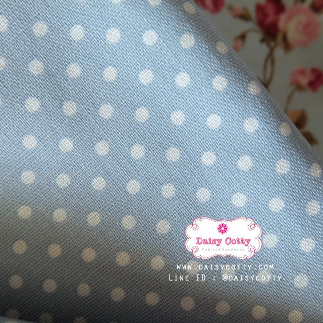 ผ้าคอตตอนลินิน 1/4เมตร พื้นสีฟ้า จุดสีขาว