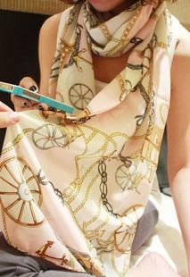 ผ้าพันคอชีฟอง สีชมพู ( รหัส P5 )