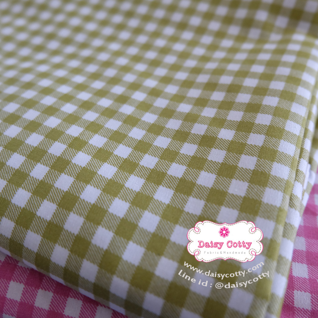 ผ้าคอตตอนไทย 100% 1/4 ม.(50x55ซม.) ลายตารางโทนสีเขียว