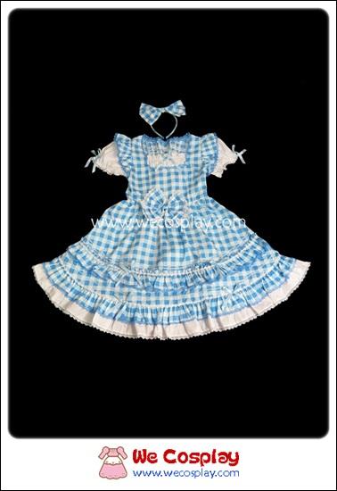 เดรสโกธิคโลลิต้า ลายสก๊อตสีฟ้า สำหรับเด็ก Blue Gingham Gothic Lolita Dress