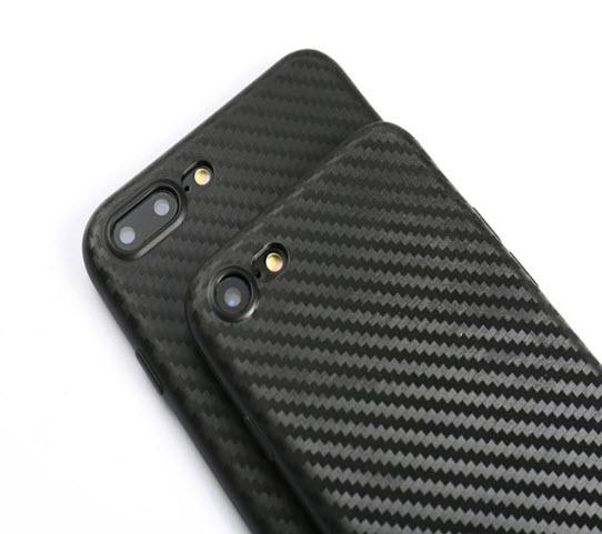เคสไอโฟน 7 TPU CASE (เคสยางนิ่ม คลุมรอบเครื่อง) ลายเคฟล่า สีดำ