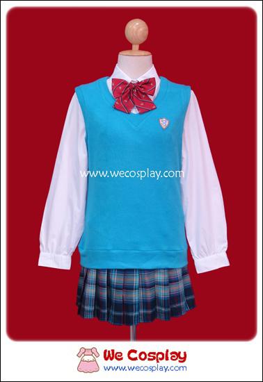 ชุดนักเรียนญี่ปุ่นฤดูหนาว แขนยาว เสื้อสเวตเตอร์สีฟ้า