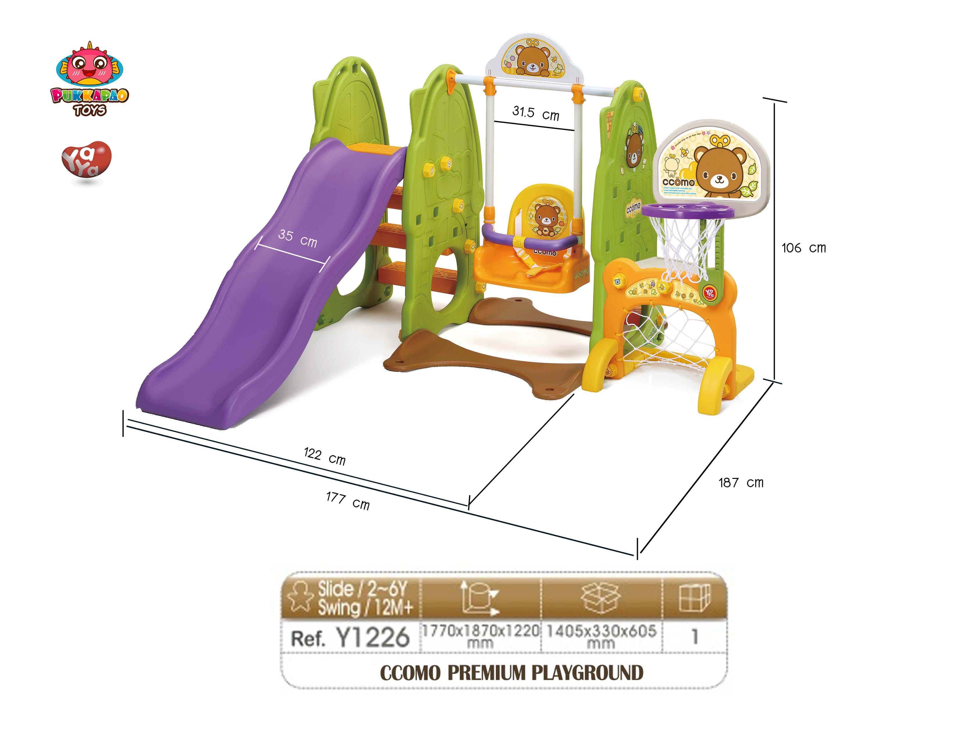 ชิงช้า สไลเดอร์ โกล์ฟุตบอล เกาหลี Yaya Premium Playground สีเขียว