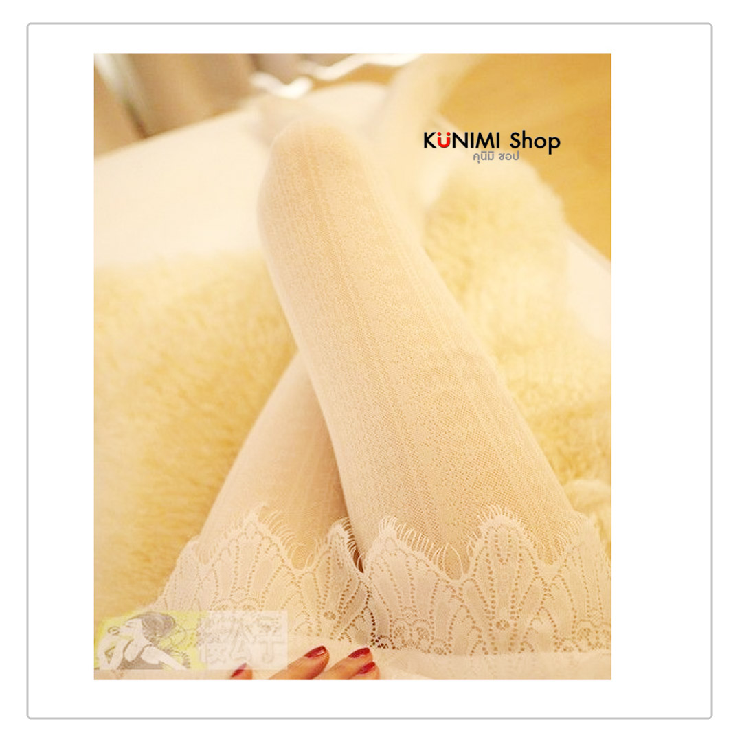 ถุงน่องแบบเต็มตัว พร้อมลายลูกไม้ คุณหนูสวยหวาน น่าใส่มากคะ ขนาด : FREE SIZE มี 2 สี : สีขาว สีดำ