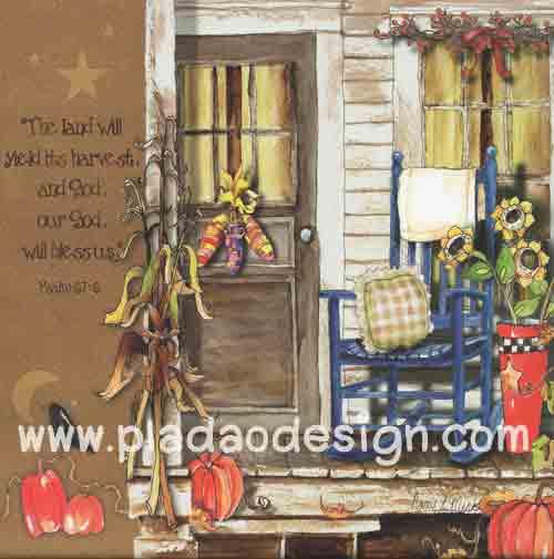 กระดาษอาร์ตพิมพ์ลาย สำหรับทำงาน เดคูพาจ Decoupage แนวภาำพ เก้าอี้ม้าโยกไม้สีน้ำเงินวางอยู่หน้าบ้าน ใกล้ลูกฟักทองกับดอกทานตะวัน (ปลาดาวดีไซน์)