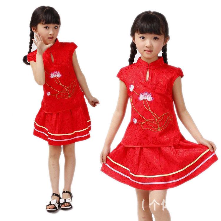 ชุดจีนแฟชั่นเด็ก เ เสื้อ +กระโปรง ปักลายดอกบัว มาใหม่