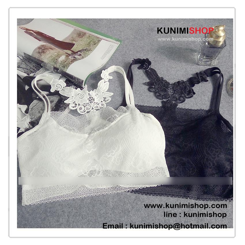 เสื้อซับในครึ่งตัว ด้านหลังตกแต่งด้วยผ้าลายดอกไม้ สวยหวาน มีฟองน้ำซับใน รอบอกไม่เกิน 34 นิ้ว / มี 2 สี ขาว , ดำ