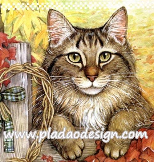 กระดาษสาพิมพ์ลาย สำหรับทำงาน เดคูพาจ Decoupage แนวภาำพ ลูกแมวตัวน้อยขนฟู น่ารักมากมาก กำลังตะกายก่ายรั้วไม้อยู่