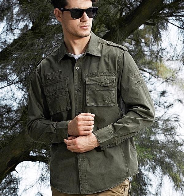Pre-order เสื้อเชิ๊ตแขนยาว แฟชั่นสไตล์อเมริกันคลาสสิก หนุ่มมาดเท่ ขาลุย สีเขียว NIAN Jeep