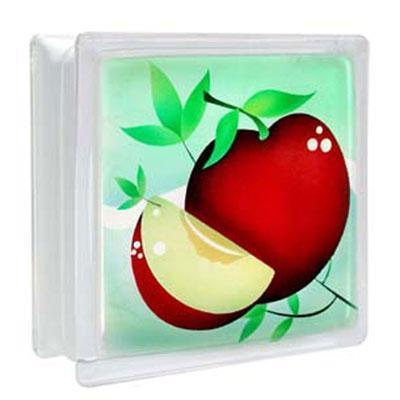 บล็อคแก้ว ลาย แอปเปิ้ล ช้างแก้ว (ก้อนเดี่ยว)