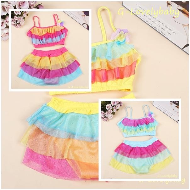 ชุดว่ายน้ำเด็ก ชุดว่ายน้ำเด็กหญิง ชุดว่ายน้ำเด็กเล็ก girl swimwear 2 pieces สีสดใสน่ารักมาก ชุดว่ายน้ำเด็กสองชิ้น Size (4 - 8 ขวบ)