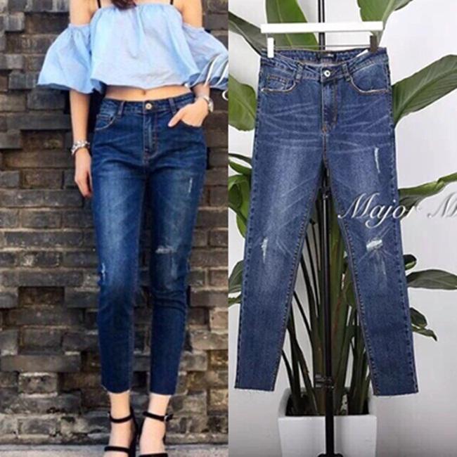 กางเกงแฟชั่น กางเกงยีนส์ 8 ส่วน ดีไซน์ทรงเข้ารูป เอวสูง