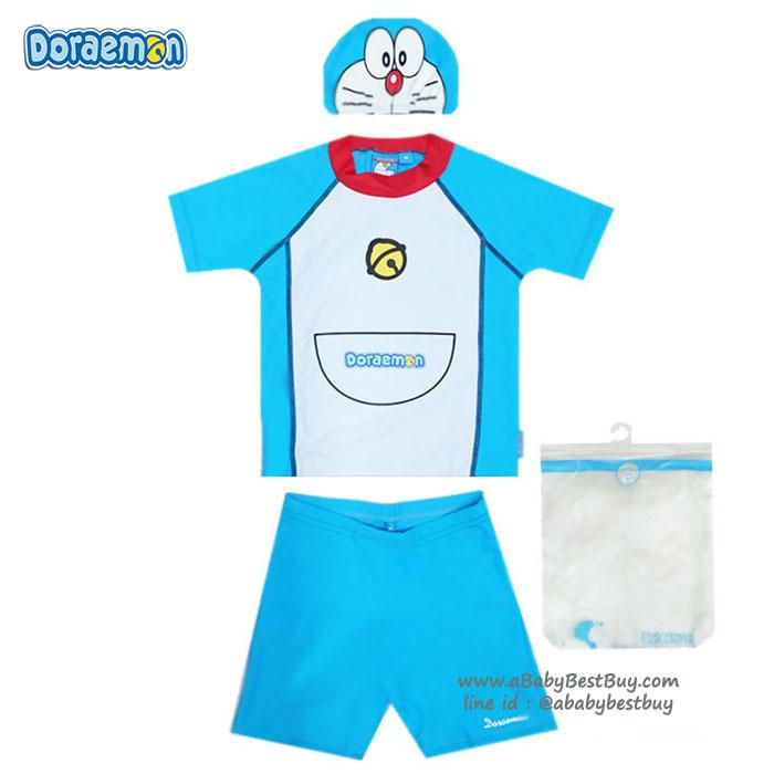 ฮ Size M - ชุดว่ายน้ำเด็กผู้ชาย Doraemon มาพร้อมกับเสื้อแขนสั้น กางเกงขาสั้น มาพร้อมหมวกว่ายน้ำและถุงผ้า สุดน่ารัก ใส่สบาย ลิขสิทธิ์แท้ (สำหรับเด็กอายุ 5-6 ปี)