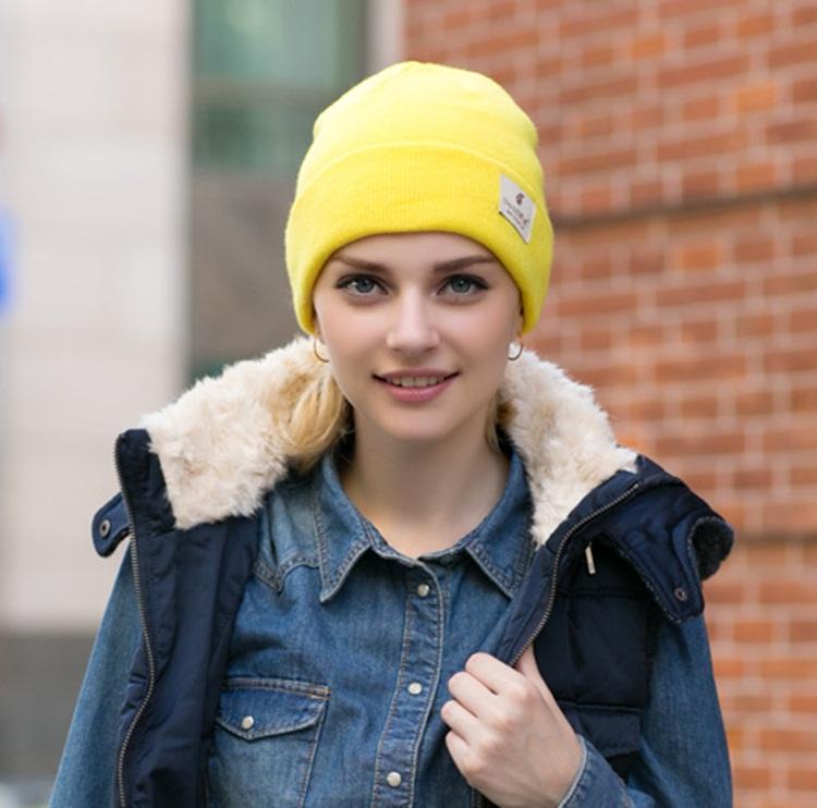 (Pre-order) หมวกไหมพรม เส้นใยสังเคราะห์ ถักทอเนื้อแน่น หมวกกันหนาวได้ดี แบบสวย เรียบง่าย แต่ไม่ธรรมดา สะท้อนความเป็นตัวของตัวเองของคุณ สีเหลือง