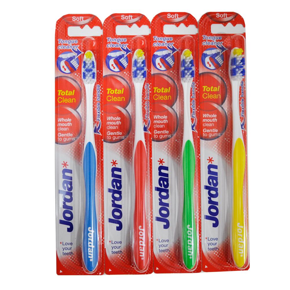 Jordan แปรงสีฟันจอร์แดน Total Clean ขนนุ่ม คละสี 4 ชิ้น