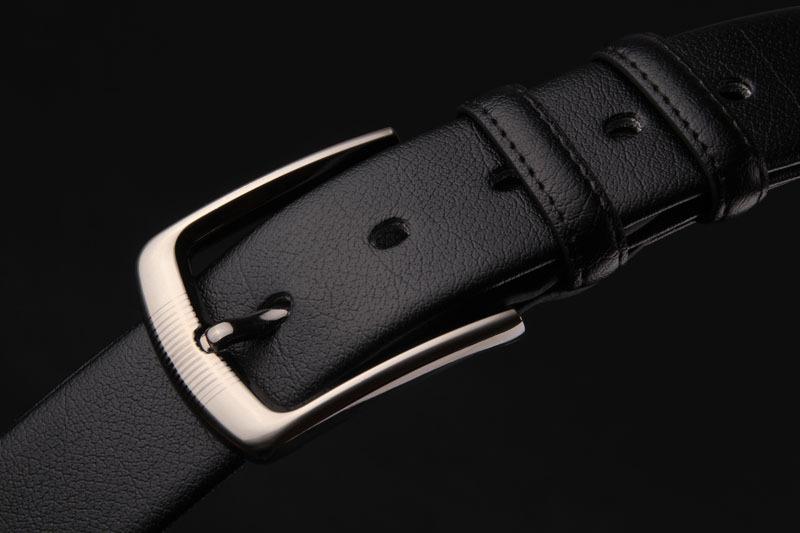 พรีออเดอร์ เข็มขัดผู้ชาย เข็มขัดหนังแท้สีดำ หัวเข็มขัดหัวเหลี่ยมสีเงิน