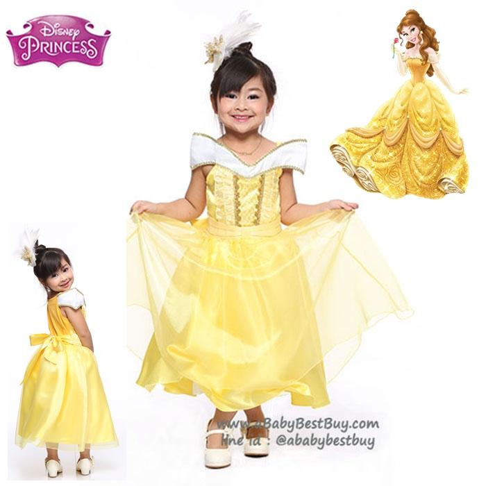 """ฮ """" ชุดเดรส เจ้าหญิงเบล Belle Princess ชุดแฟนซีเจ้าหญิง ผ้าดี ใส่สบาย (สำหรับเด็กอายุ 2-10 ปี)"""