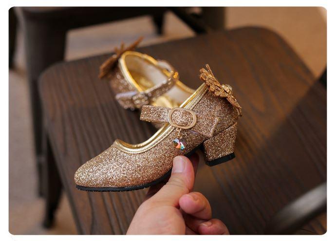 รองเท้าคัทชูเด็กสีทองมีส้น