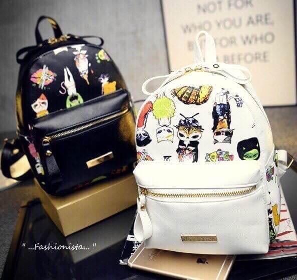 กระเป๋าเป้แบ็คแพ็คแฟชั่นสไตล์เกาหลี วัสดุหนัง pu เนื้อ Saffiano คุณภาพดีขึ้นทรงสวย สกรีนลายเหมียวซ่า
