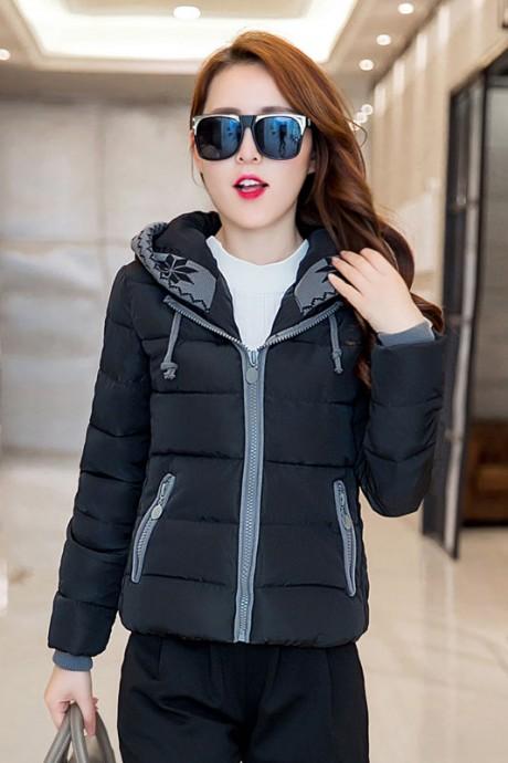 Pre-Order เสื้อโค้ทผู้หญิงแฟชั่น สีดำ แต่งริมสีเทา มีฮู๊ด แขนจั๊ม แฟชั่นเกาหลี