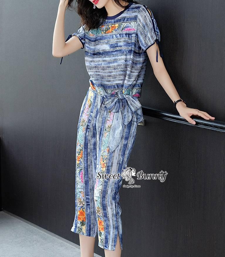ชุดเซทแฟชั่น ชุดเซ็ทเสื้อ+กางเกงงานเกาหลี ผ้าเนื้อดีหนานุ่ม