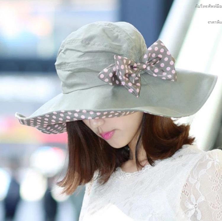 Pre-order หมวกแฟชั่น หมวกใบกว้าง หมวกฤดูร้อน กันแดด ผ้าลินิน สีเขียว