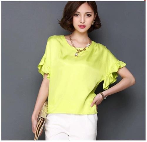Pre-order เสื้อฤดูร้อนผ้าชีฟอง แขนใบบัว สไตล์ย้อนยุค แฟชั่นเกาหลีแท้ สีเหลือง