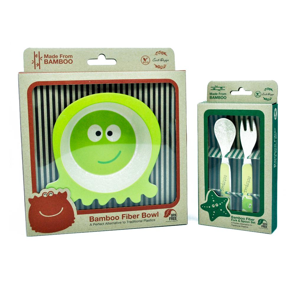 Earthdezign ผลิตภัณฑ์ ชุดชาม และช้อนส้อม สำหรับเด็ก จากเยื่อไผ่ ปลอดภัยสำหรับเด็ก