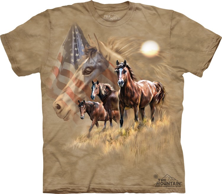 Pre.เสื้อยืดพิมพ์ลาย3D The Mountain T-shirt : Patriot Horse
