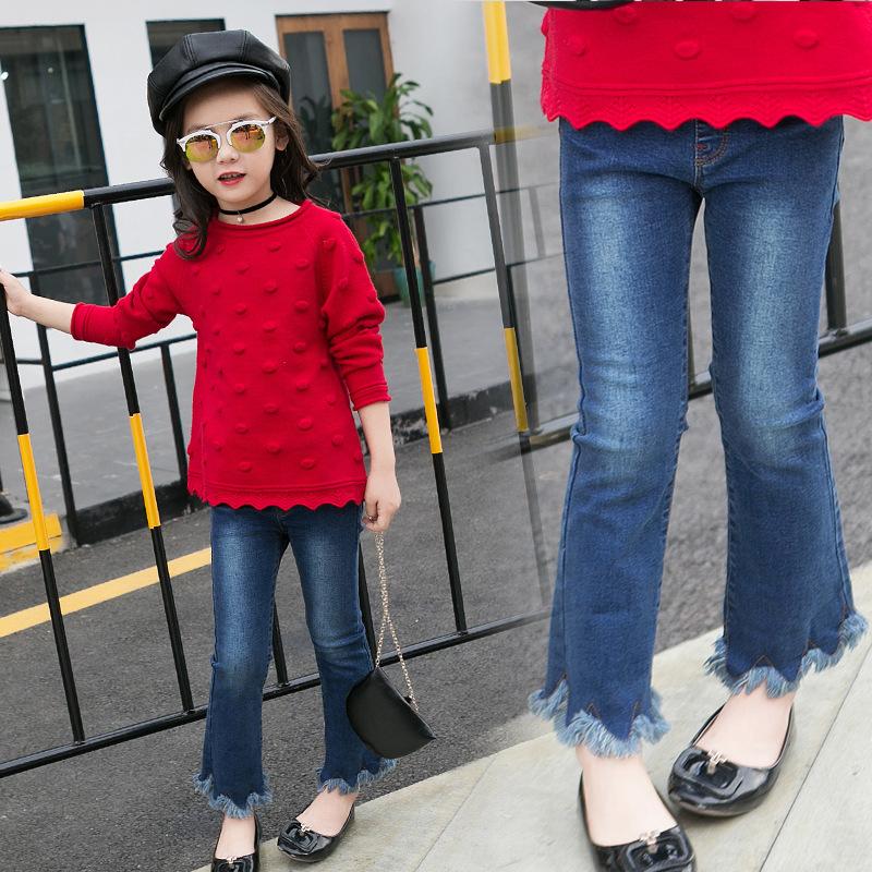 กางเกงยีนส์ขายาวเด็กผู้หญิงปลายขาขาดลุ่ยๆ
