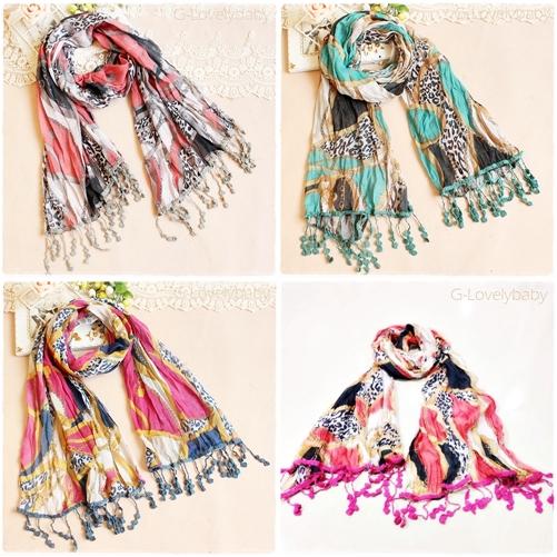 ผ้าพันคอผู้หญิง ผ้าพันคอสไตล์ญี่ปุ่นชายลูกไม้ไหมพรมถัก ขนาด กว้าง 65 ซม.ยาว 160 ซม.
