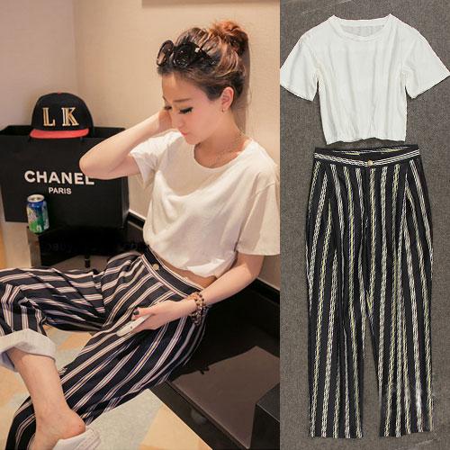 ++สินค้าพร้อมส่งค่ะ++ชุดเซ็ทแฟชั่นเกาหลี เสื้อคอกลม แขนสั้น เอวลอย ลำตัวกว้าง ผ้า cotton+กางเกงขายาว ลายเส้น สไตล์ Classic – สีขาว