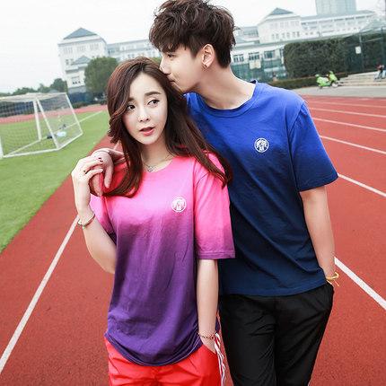 เสื้อแขนสั้นแนว Sport เกาหลี ดีไซน์เล่นสีผ้า แต่งโลโก้ มี2สี