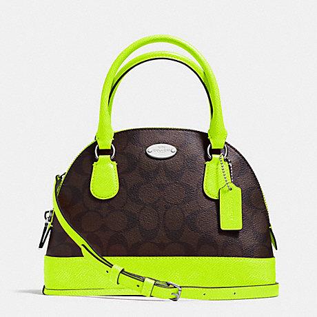 สินค้าพร้อมส่ง » กระเป๋า Coach F34710 MINI Signature Cora Domed Satchel Cross Body Bag Neon Green