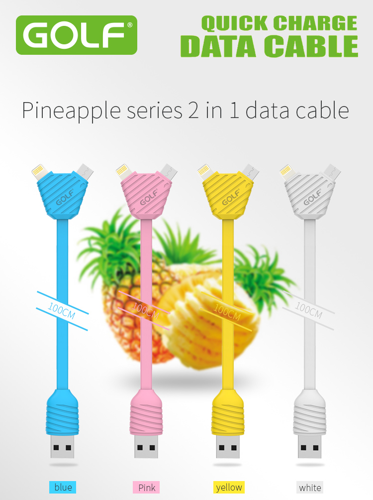 Golf Pineapple Series 2 in 1 Data Cable