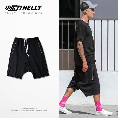 กางเกงขาสั้นเกาหลี Justin Bieber ฮิปฮอป ทรงหลวม มี2สี