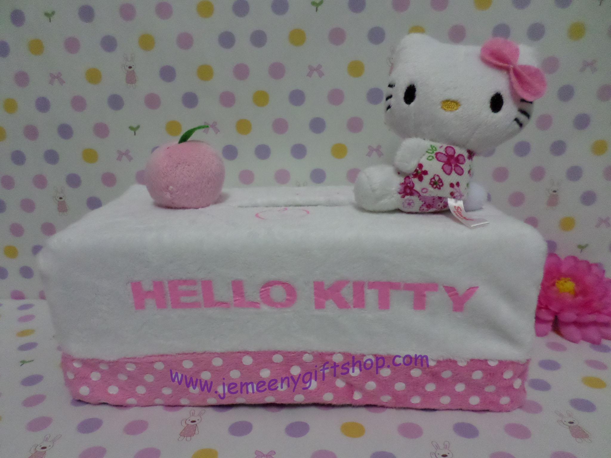 หุ้มกล่องทิชชู่สี่เหลี่ยม ฮัลโหลคิตตี้ Hello Kitty#7 ขนาดยาว 24 ซม. * กว้าง 13 ซม. * สูง 8 ซม. สีขาวชมพูจุดขาว ลายฮัลโหลคิตตี้โบว์ชมพู