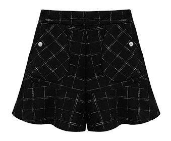 PreOrderไซส์ใหญ่ - กางเกงกระโปรงขาสั้นแฟชั่น สไตล์ยุโรป เอวสูง ลายสก๊อต ทำจากผ้าขนสัตว์ สีดำ