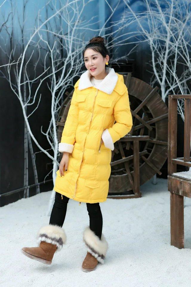 PreOrderคนอ้วน - เสื้อกันหนาวแฟชั่น ตัวยาว ผ้าร่ม บุนวม และขนสัตว์คอ ข้อมือ กระดุม Hood ถอดได้ สี : เหลือง / ดำ