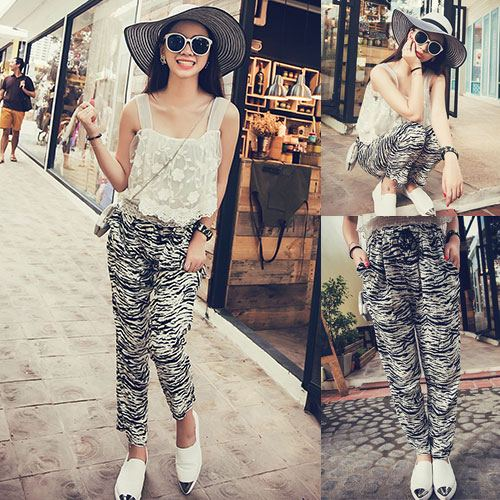 ++สินค้าพร้อมส่งค่ะ++ชุดเซ็ทเกาหลี เสื้อสายเดี่ยว ผ้าลูกไม้สวยหวาน+กางเกงขายาว ฝ้ายเนื้อนิ่ม สไตล์ Harem หวานและเก๋มาก – สีขาว