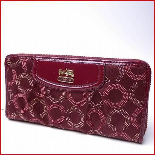 สินค้าพร้อมส่ง » กระเป๋า สตางค์ Coach 48646 B4CM Madison Dotted Accordion Zip Around Wallet Crimson