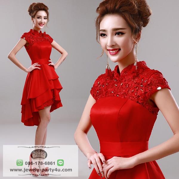 wedding ชุดแต่งงานเจ้าสาวแสนสวย หน้าสั้นหลังยาวคอจีนสีแดงสวยมากๆค่ะ