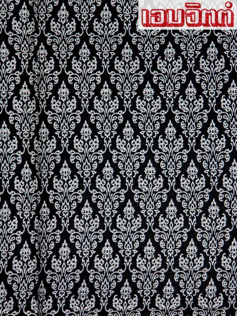 ผ้าลายไทย LT0018_bw ขาวดำ