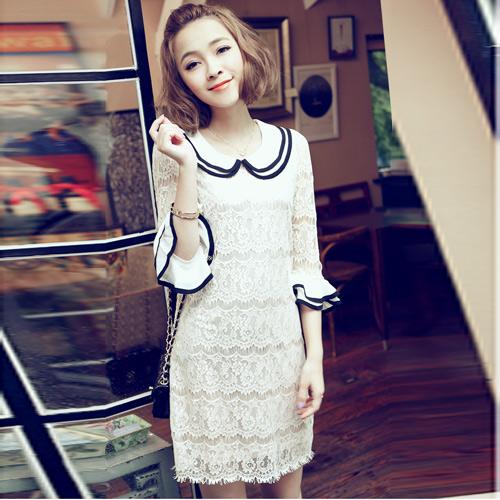 DRESS ชุดเดรสแฟชั่นผ้าลูกไม้ สีเบจ คอตุ๊กตาเกาหลี ใส่ทำงาน สามารถใส่ออกงานได้ น่ารักมากๆ ครับ (พร้อมส่ง)