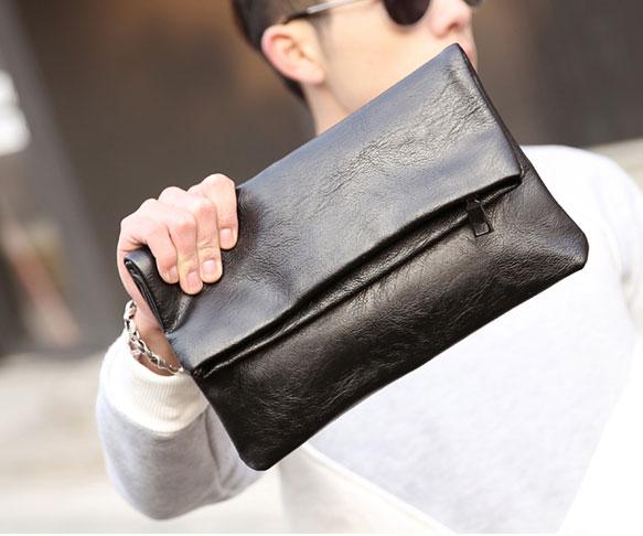 Pre-order ขายส่งกระเป๋าคลัทซ์ผู้ชาย กระเป๋าหนีบใส่โทรศัพท์8 นิ้ว แฟชั่นเกาหลี รหัส Man-6035-7 สีดำ