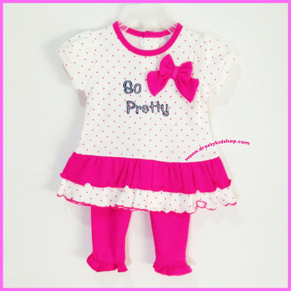 ชุดเสื้อสีขาวลายจุดชมพู ระบาย 2 ชั้น ปัก So Pretty ตกแต่งด้วยโบว์ชมพู พร้อมกางเกง ไซส์ 3, 6 เดือน