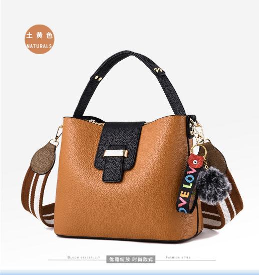 พร้อมส่ง กระเป๋าถือและสะพายข้างสตรี แฟชั่นเกาหลี รหัส KO-003 สีน้ำตาลอมส้ม 1 ใบ*แถมป๋อม