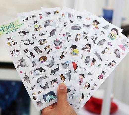 สติ๊กเกอร์ชุด : Ppozzatoon Cat Sticker Set